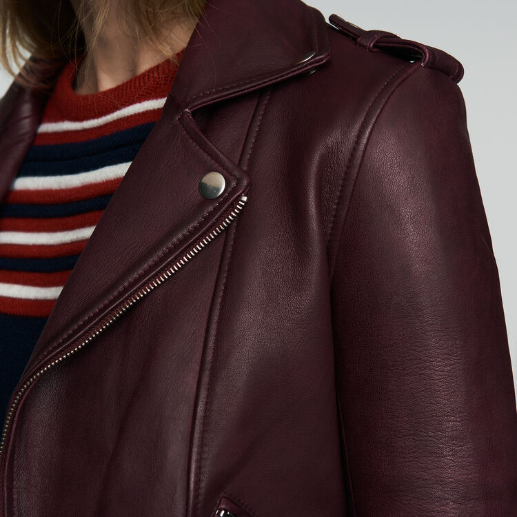 Leather jacket : Jackets color Burgundy