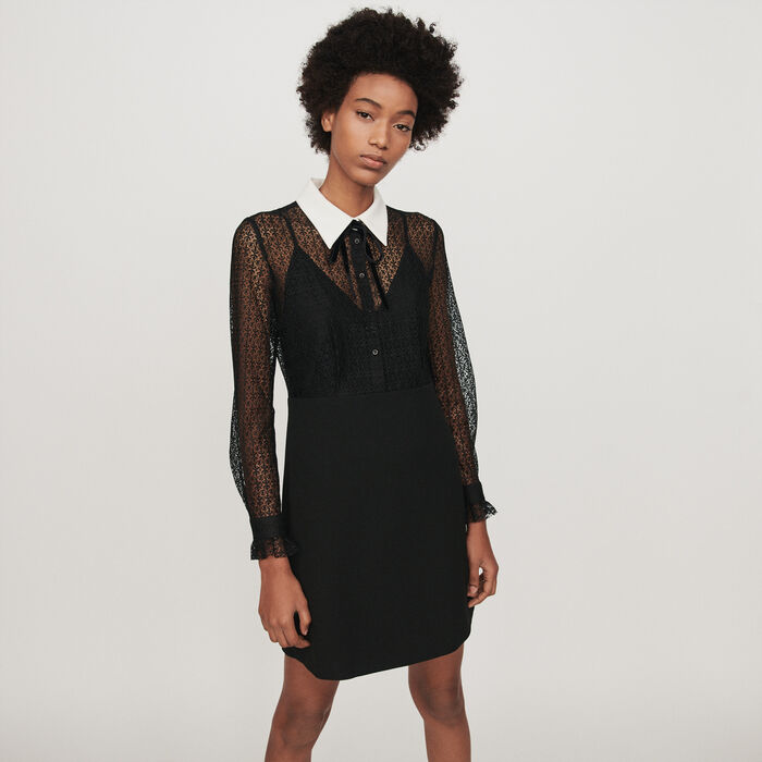 Contrast-collar guipure and crepe dress : Dresses color Black