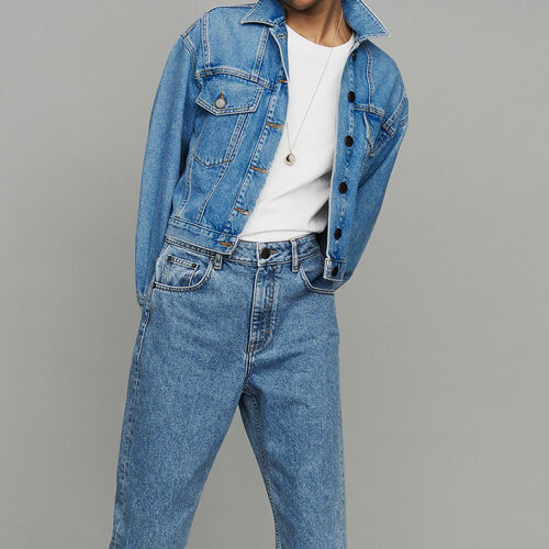 Cropped denim jacket : Ready to wear color Denim