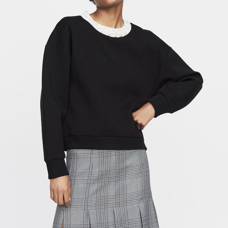 Fleece sweatshirt with pearls : Sweatshirts color Black 210