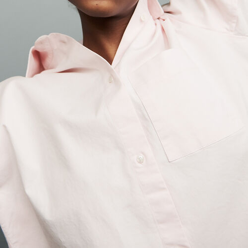 Oversized denim shirt : Tops color Pale Pink
