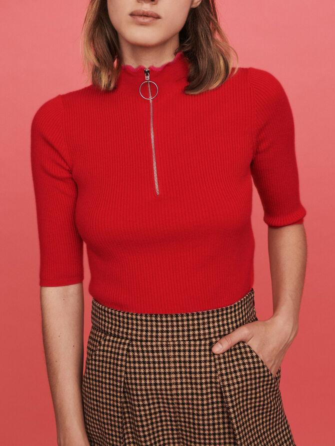 Fancy and zipped turtleneck sweater - Knitwear - MAJE