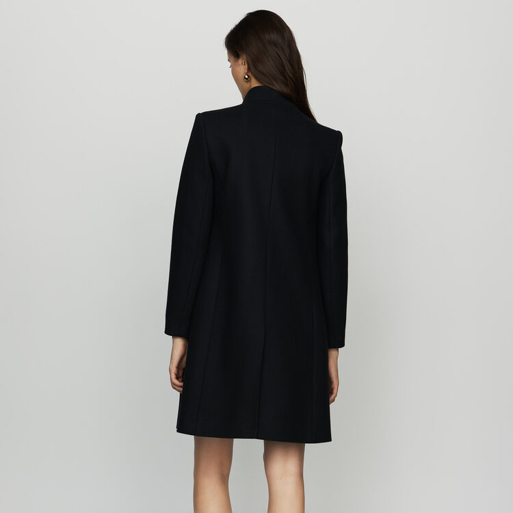 Straight coat in cashmere blend : Coats color Navy