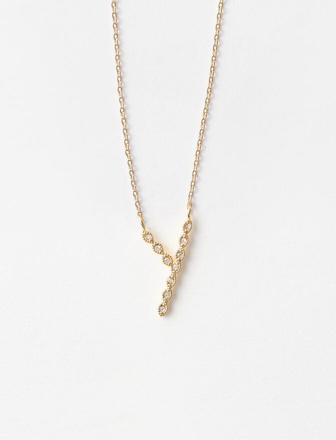 Rhinestone Y necklace -  - MAJE