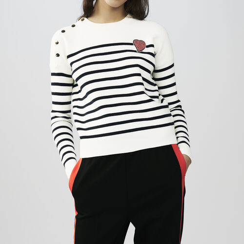 Striped cotton sweater : Sweaters & Cardigans color Two-Tone
