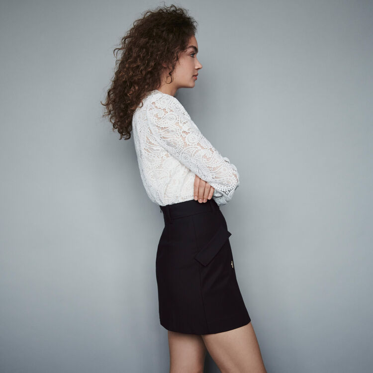 Crepe skirt with contrasting buttons : Skirts & Shorts color Black