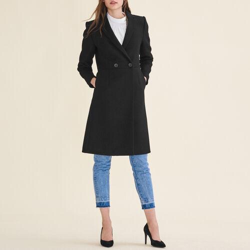 Mid-length wool frock coat : Coats & Jackets color Black 210