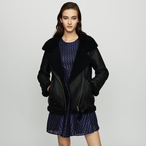 Biker jacket in shearling : Jackets color Black 210