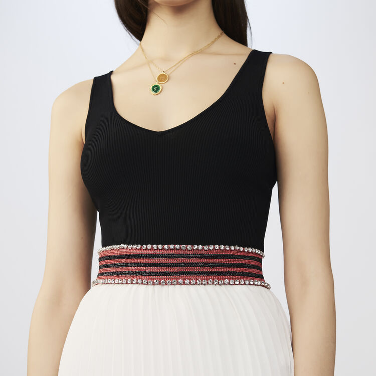 Beaded striped blelt with glitz : Belts color Stripe