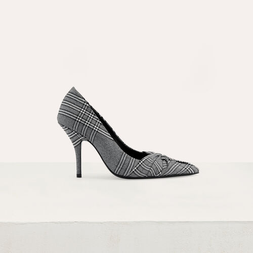 Draped pumps in Prince of Wales plaid : Office girl color CARREAUX