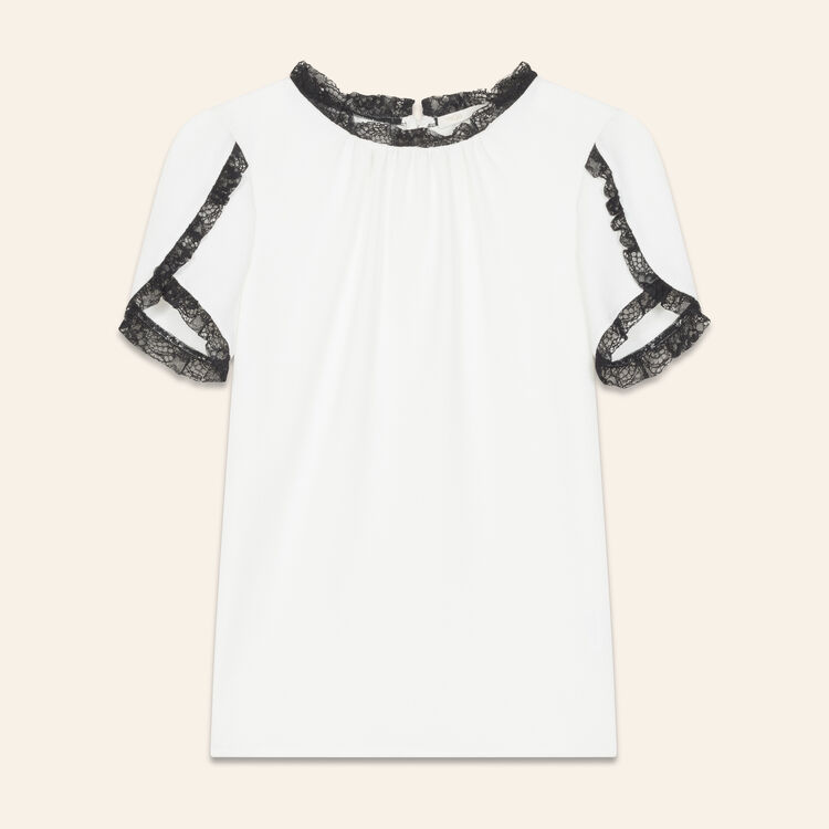 Crepe top with lace detail : Tops color Ecru