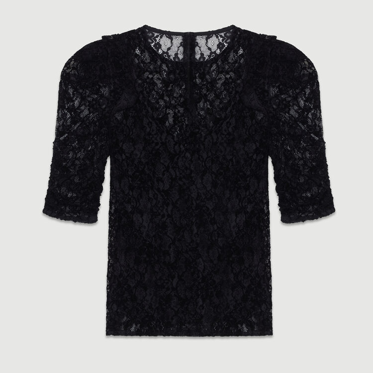 Velvet lace top : Ready to wear color Black 210
