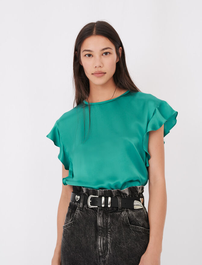 Sleeveless T-shirt with ruffles - T-Shirts - MAJE