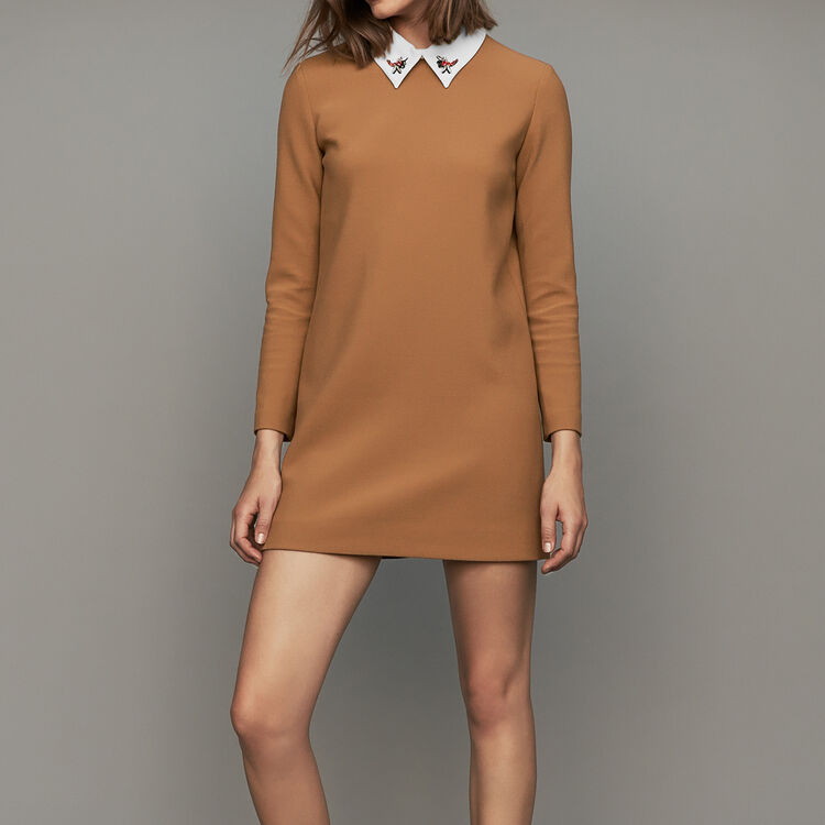 Straight dress with novelty collar : See all color Camel
