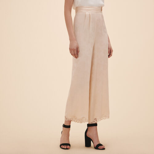 Wide-leg satin jacquard trousers : Trousers & Jeans color Nude