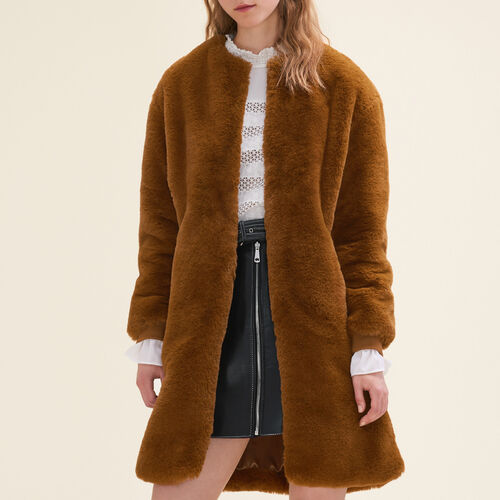 Faux fur coat : Coats color Caramel