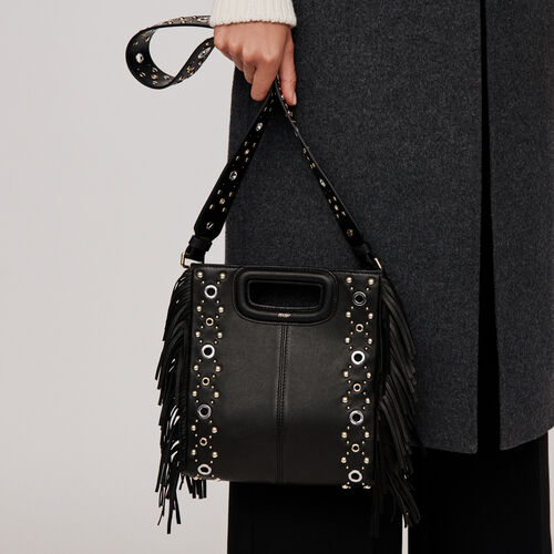 Leather M bag with eyelets : M bag color Black
