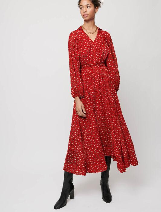 Horse-print muslin dress : Maxi dresses color Red Horses