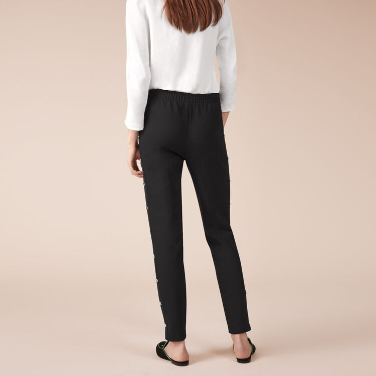 Crêpe trousers with press studs : Trousers color Black 210