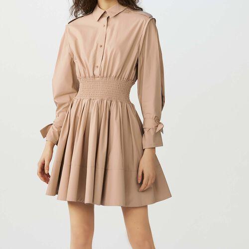 Dress with smocked waist : Dresses color Beige