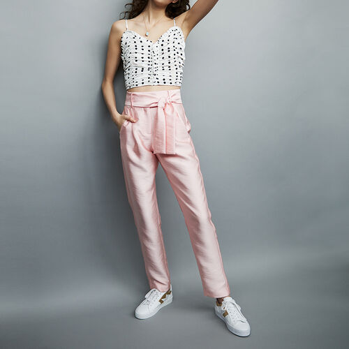 Pleated pants with belt : staff private sale color Pink