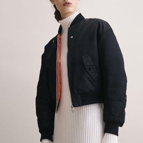 Cropped reversible bomber jacket : Coats & Jackets color Black 210