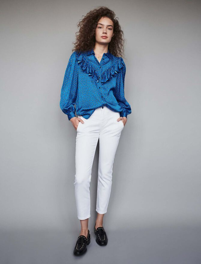 Printed silk ruffled shirt - Tops & Shirts - MAJE