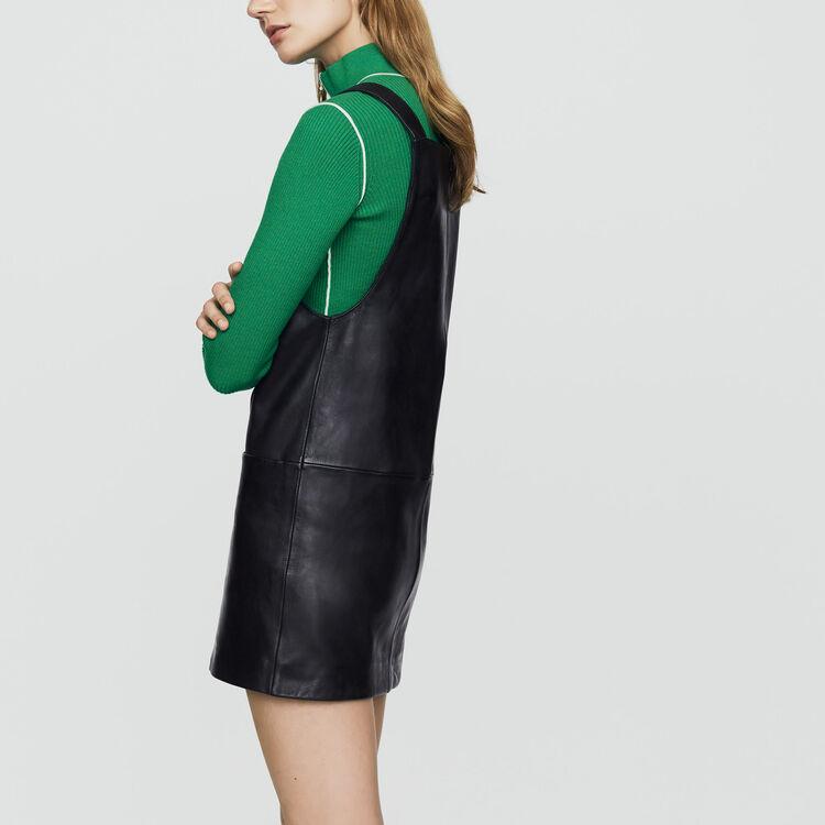 Leather tunic dress : Dresses color Black 210