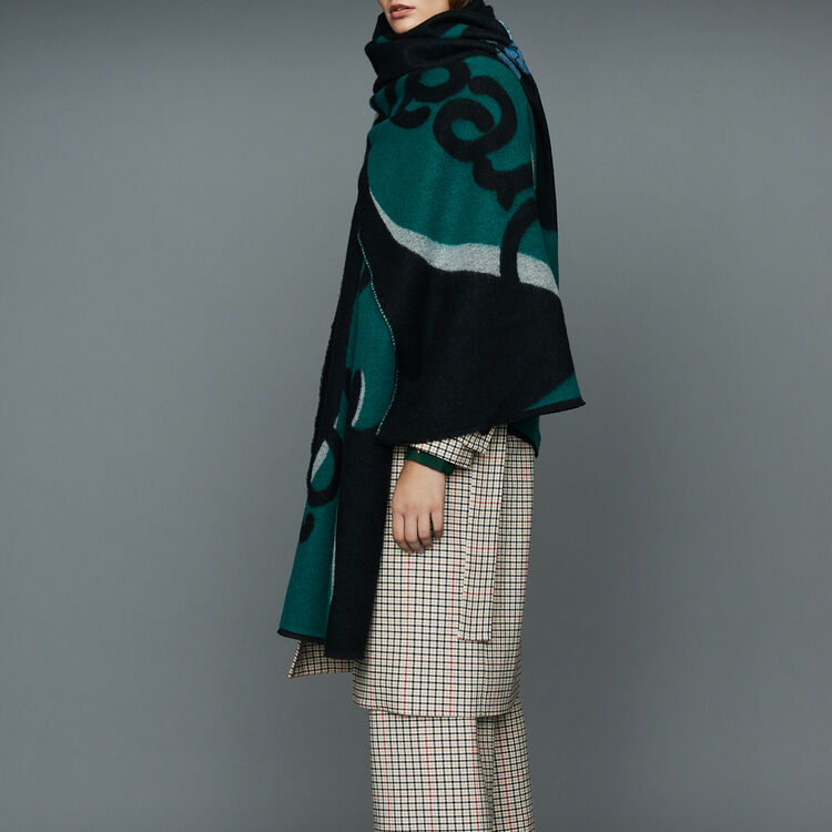 Printed scarf in cashmere : Urban color Black 210