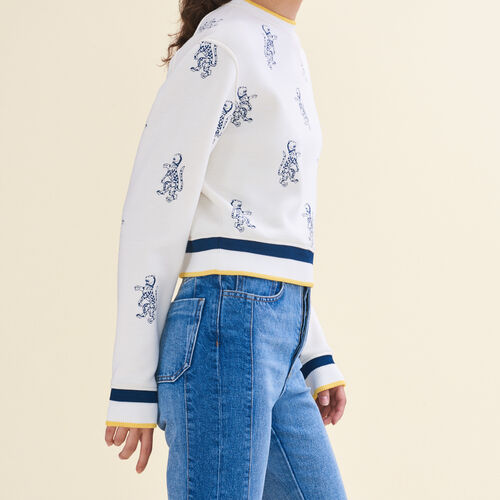 Short sweatshirt with tiger embroidery : Knitwear color Ecru