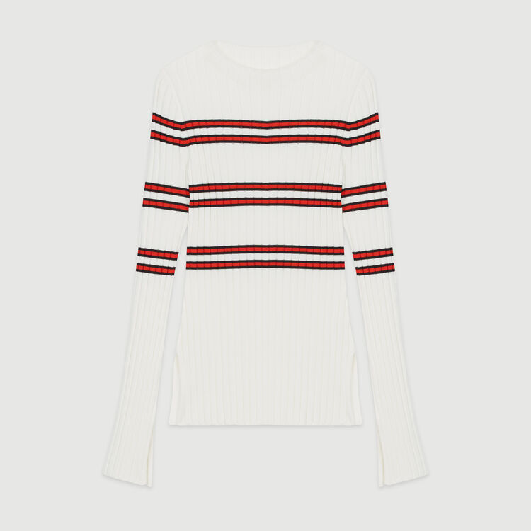 Thin sweater in striped tube knit : Knitwear color Stripe