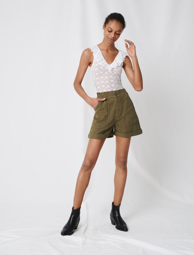 Khaki cotton canvas shorts - Skirts & Shorts - MAJE