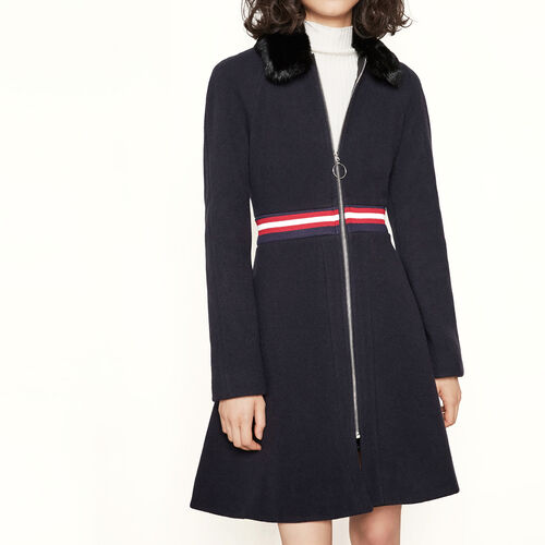 Coat with fur collar : Coats color Navy