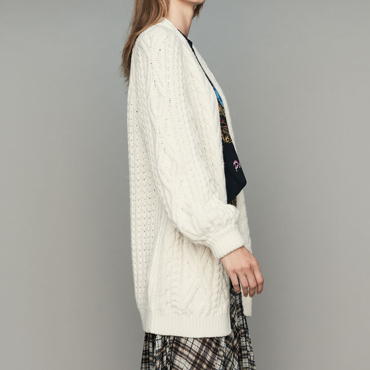 Oversize cardian in twisted mesh knit : Ready to wear color ECRU