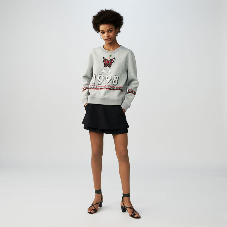 Cotton sweatshirt with sequins : T-Shirts color Grey