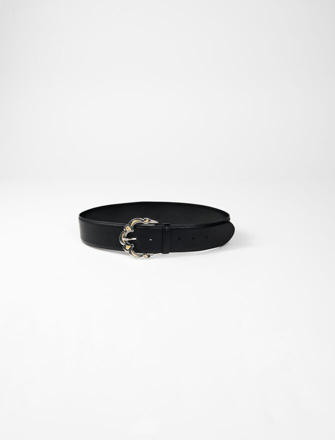 Wide leather belt with Berber buckle -  - MAJE
