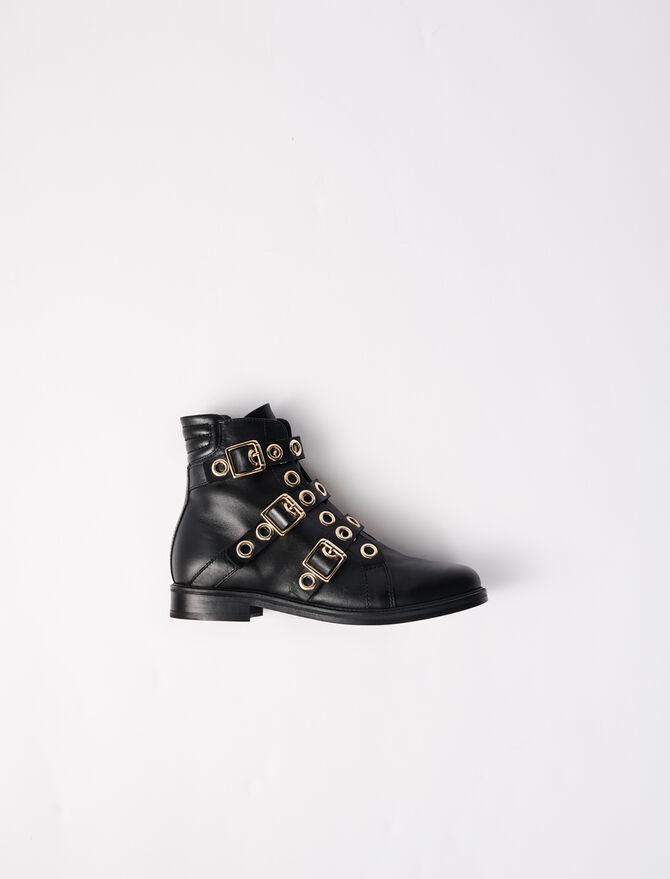 Multi-strap flat boots with eyelets -  - MAJE