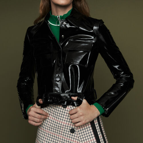 Cropped faux leather jacket : Ready to wear color Black 210