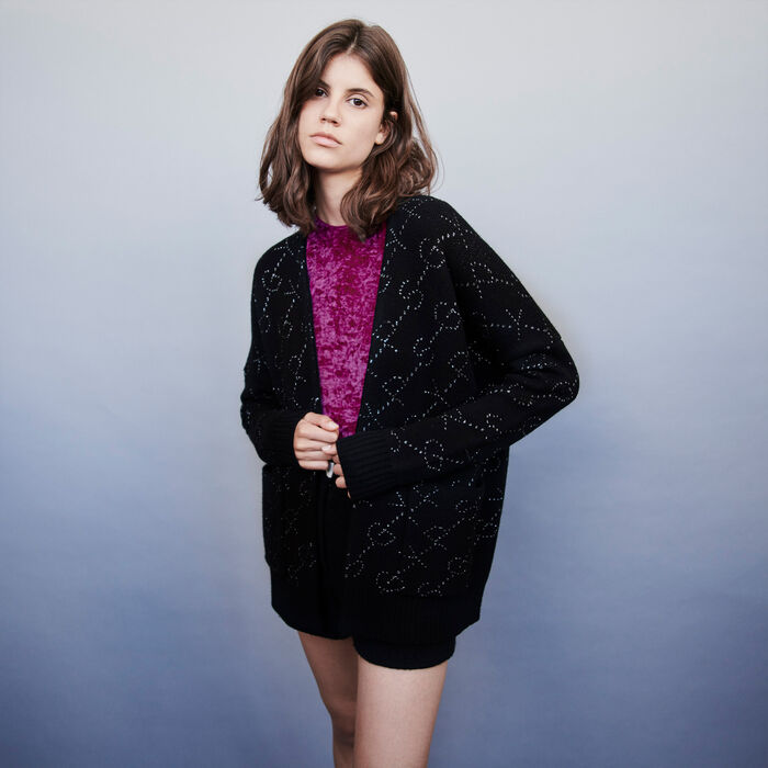 Lurex jacquard cardigan : Knitwear color Black