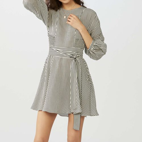 Belted striped dress : Dresses color Stripe