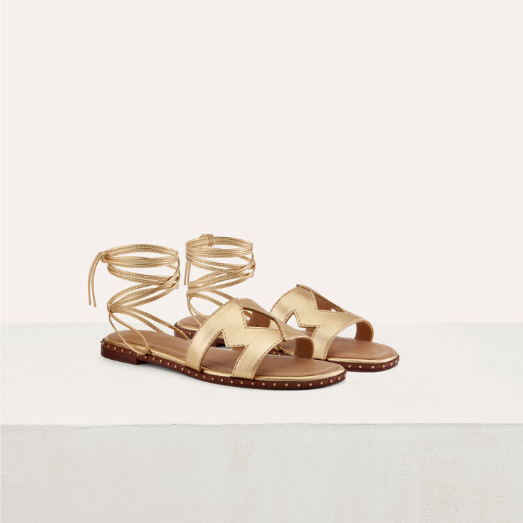 Flat leather sandals : Flat shoes color Gold