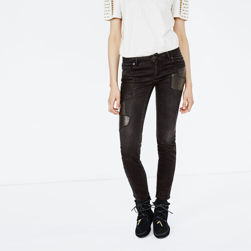 Jean with details in leather and suede : Trousers & Jeans color Black 210