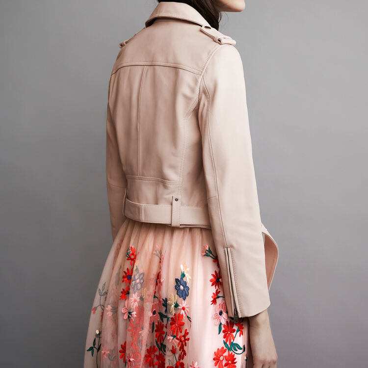 Leather jacket with belt : Jackets color Nude