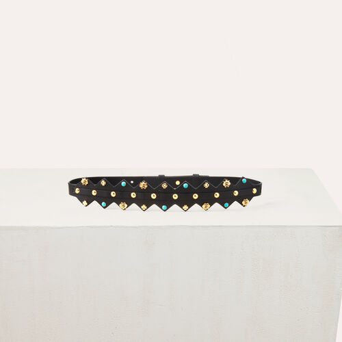 Leather belt with studs : Accessories color Multico