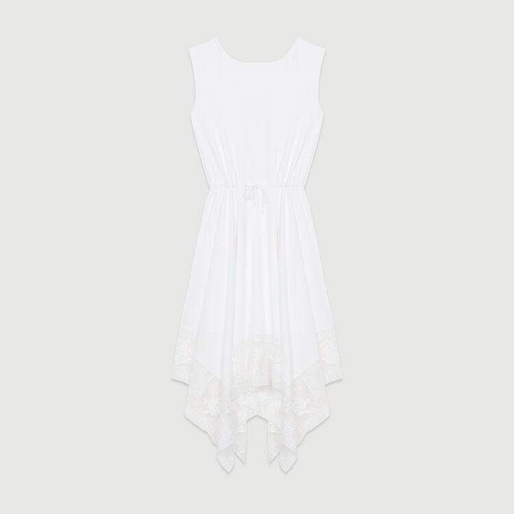 Long sleeveless dress with lace : New Collection color White
