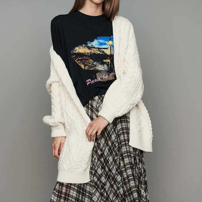 Oversize cardian in twisted mesh knit : Knitwear color ECRU