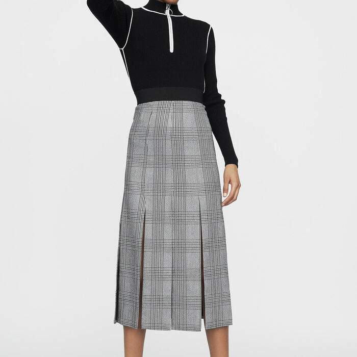 Long Prince of Wales check cutout skirt : Ready to wear color CARREAUX