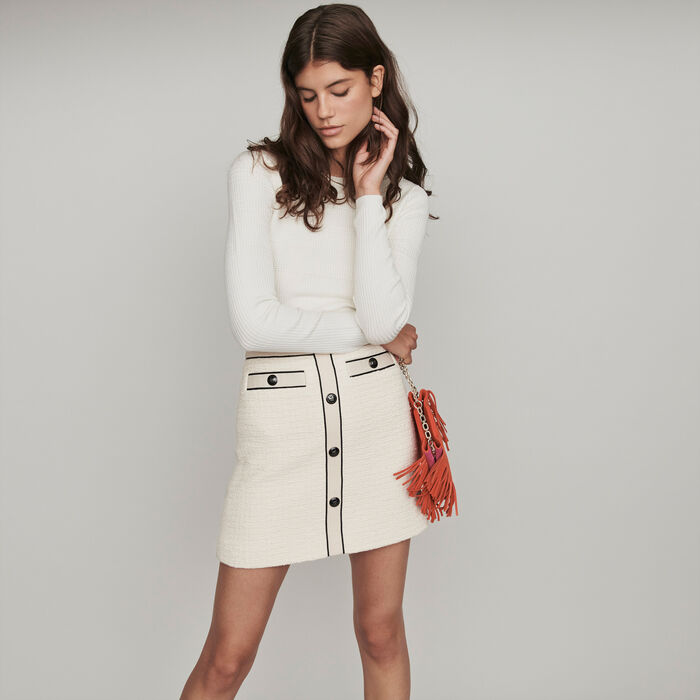 Tweed-style contrast pencil skirt : Skirts & Shorts color Ecru