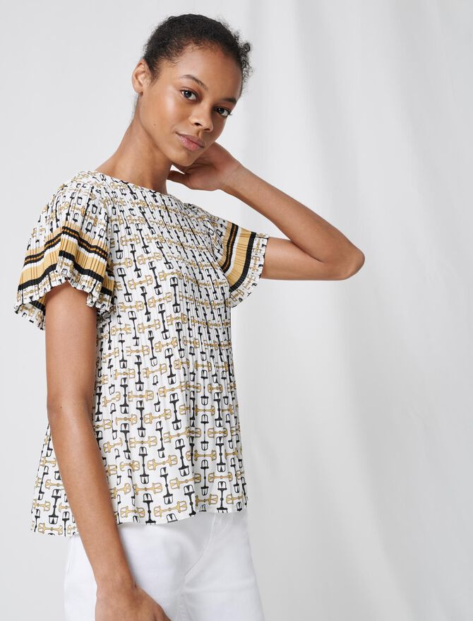 Pleated tunic with preppy print -  - MAJE