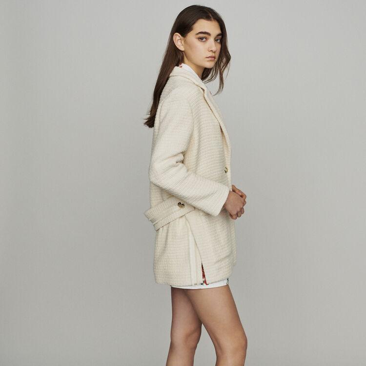 Tweed-style coat : Coats color Ecru